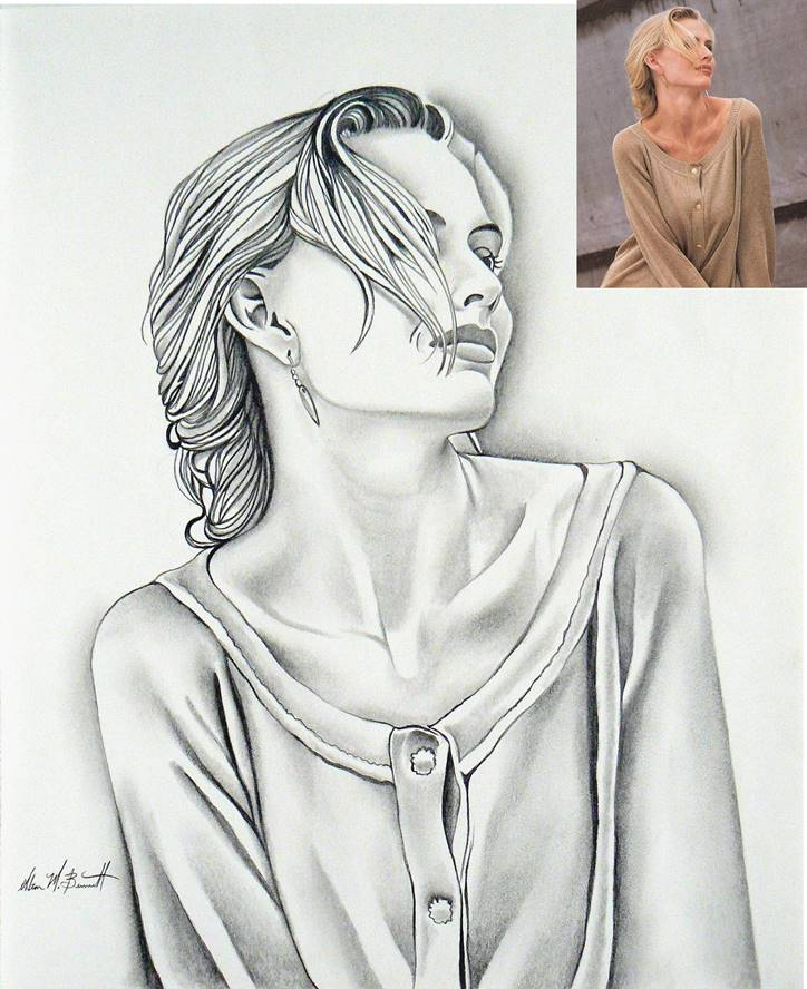 blonde-model-pencil-sketch-with-photo