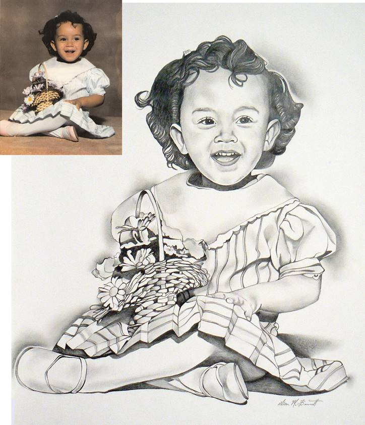 flower-basket-girl-pencil-portrait-drawing-with-photo