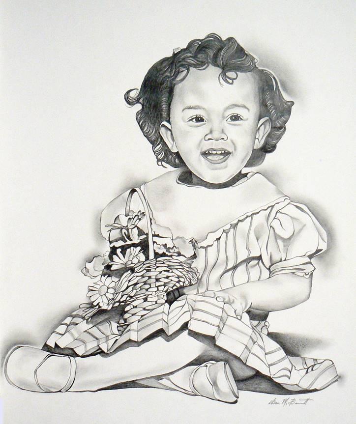 flower-basket-girl-pencil-portrait-drawing