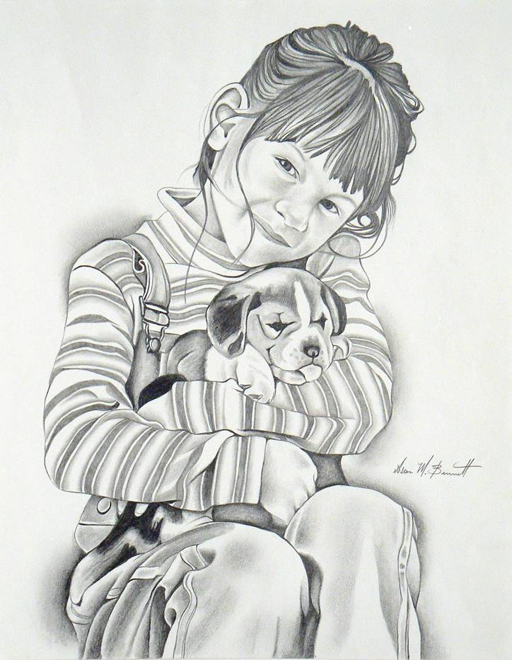 girl-dog-pencil-portrait-drawing